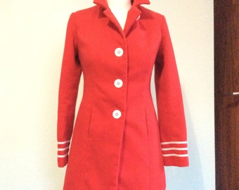 Red 1950's inspired nautical coat size 8