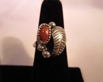 Native American Sterling Silver Coral Ring