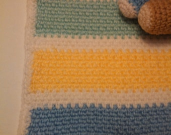 Blue, Yellow, Mint and Pink Striped Baby Afghan