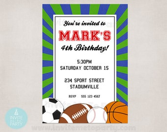 PRINTABLE Sports Party Invitation