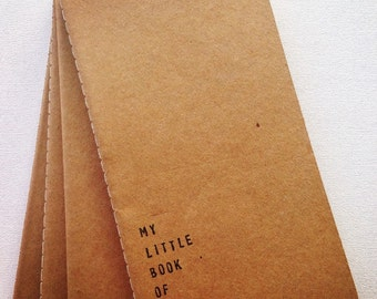 Moleskine style kraft card notebook hand stamped message big ideas quote