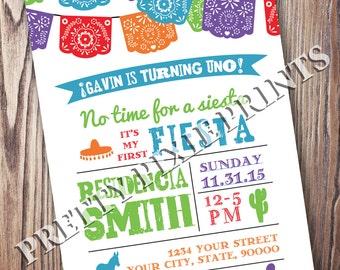Mexican Fiesta Papel Picado Invitation - Digital File