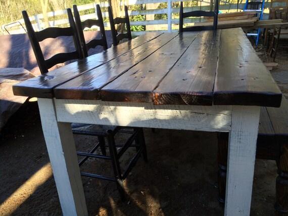 6 5 foot heart pine farmhouse table set by for 65 farmhouse table