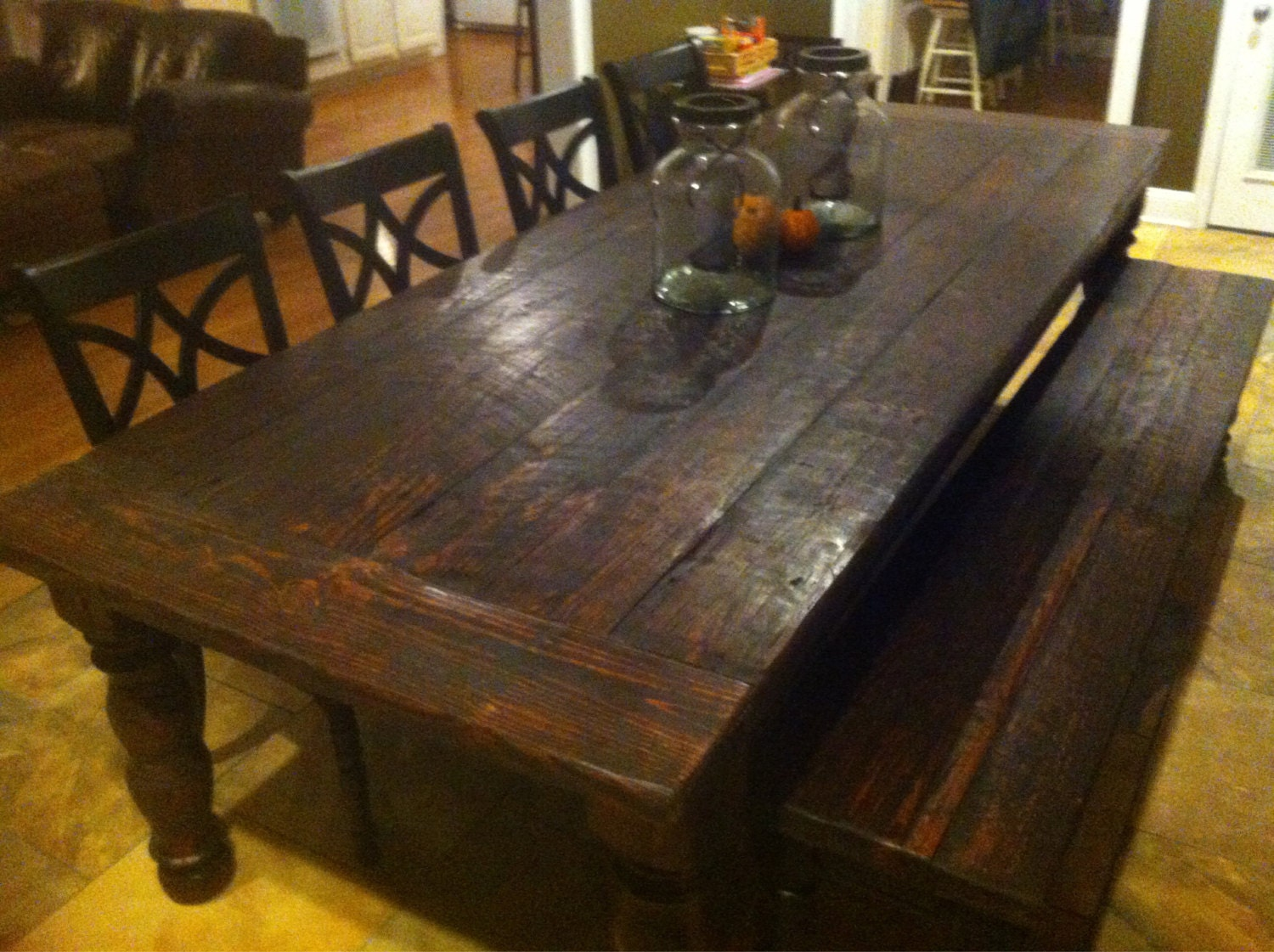 Rustic 10 foot heart pine farmhouse table by for 10 foot farmhouse table plans