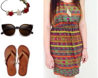 BOHEMIAN short  Dress /  Tribal print / Medium Size