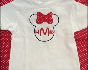 Monogrammed Mickey or Minnie Mouse shirt