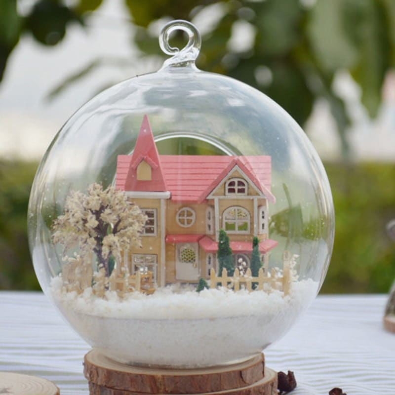 Diy glass ball dollhouse miniature snow kit
