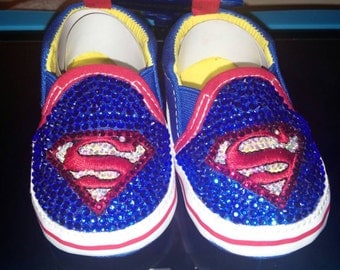Super Man Bling Crib Shoes