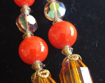 Tangerine, crystal and amber vintage necklace 1960s D089-5