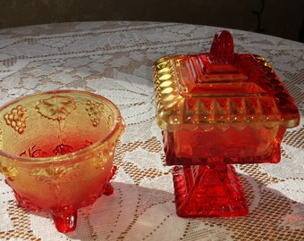 Amberine Red Glass Candy Dishes, 2 total 1950 D144-4