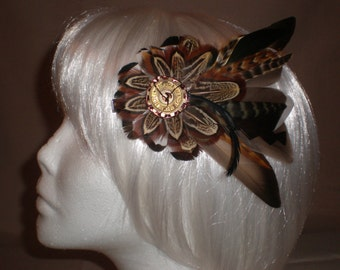 Dark Green and Brown Pixie  Feather Hair Piece