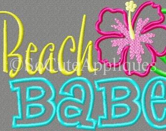 5x7 Beach BABE 5x7 Embroidery design, summer, hibiscus, beach embroidery, flower, hawaii