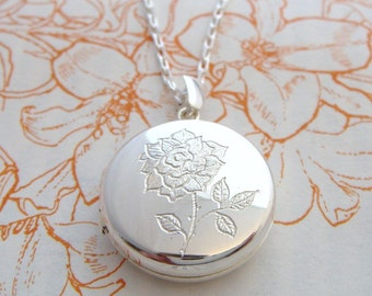 Silver Rose Locket, engraved locket, Uk maker