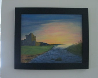Wonderful original oil painting of Ross Castle Ireland in silhouette.
