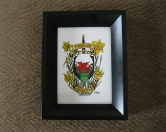 Original watercolor painting of a crest shield for Wales