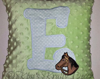 Custom Personalized Blue Green Soft Horse Pillow