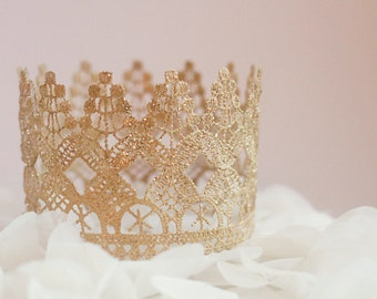 """Small Windsor cake topper, Tall Lace crown, """"Windsor"""" crown photography prop, princess party,  gold crown, birthday party decoration"""