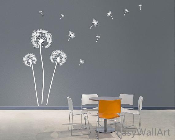 Dandelion blowing in the wind wall decals dandelion wall art - Sticker mural pissenlit ...
