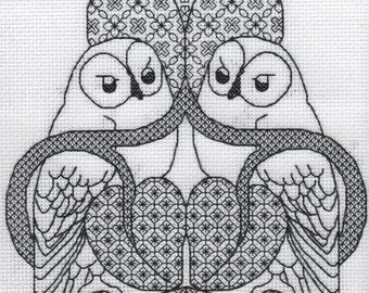 KL154 The Owl Blackwork Needlework Kit by Goldleaf Needlework. Inspired by the work of Charles Voysey