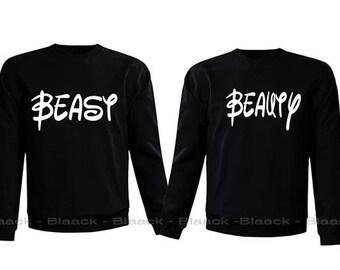 Couple Sweatshirt - Beast and Beauty - 2 Couple Matching Love Crewneck Sweatshirts