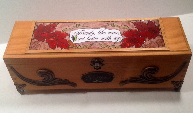 Wooden Wine Box Wedding Gift : Realtor closing gift box Wooden wine box wedding wine box