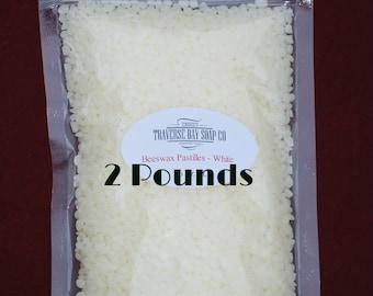 Beeswax Pastilles - White, 32 oz ,lip balm,salve, supplies, beeswax pellets