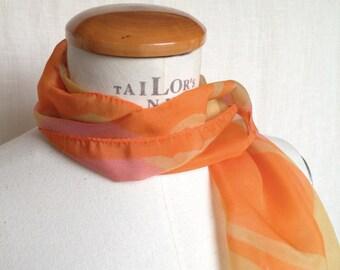 Foulard vintage fantasia arancione rosa, sciarpa in voile di poliestere, New York Chelsea