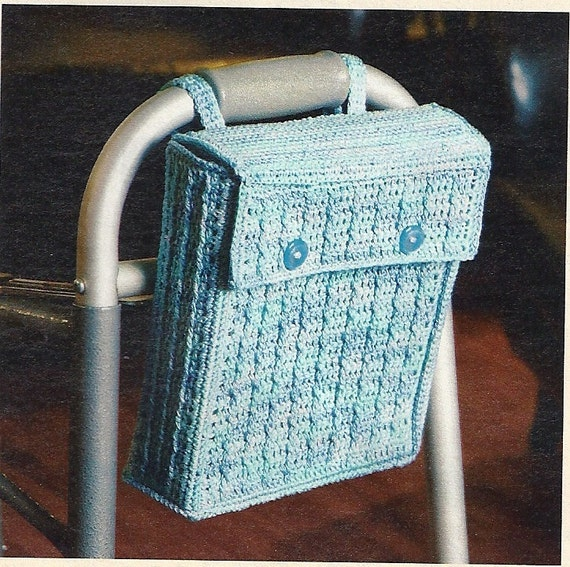 Walker or Wheelchair Tote Crochet Pattern Accessory Bag P-205
