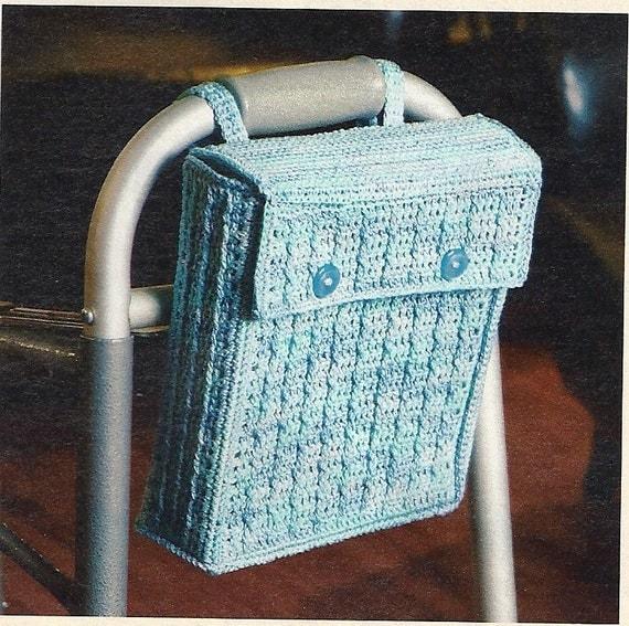 Crochet Patterns For Walker Bags : Walker or Wheelchair Tote Crochet Pattern Accessory Bag P-205