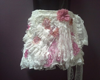 GIRLS WRAP SKIRT tattered shabby style, pink white laces, ruffled lace trims, wedding, 1 2 3 4 year old, boho fairy, small birthday outfit