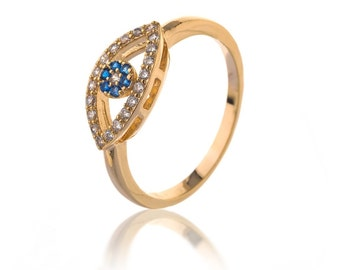 Eye Ring - Jewelry - Silver Ring - Simulate Diamonds - evil eye ring - Evil Eye Jewelry - Evil Eye Protection