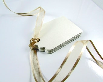 Blank Paper Gift Tags, White Shimmer, 25