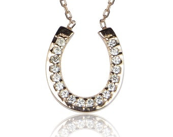 horseshoe cz necklace rose gold