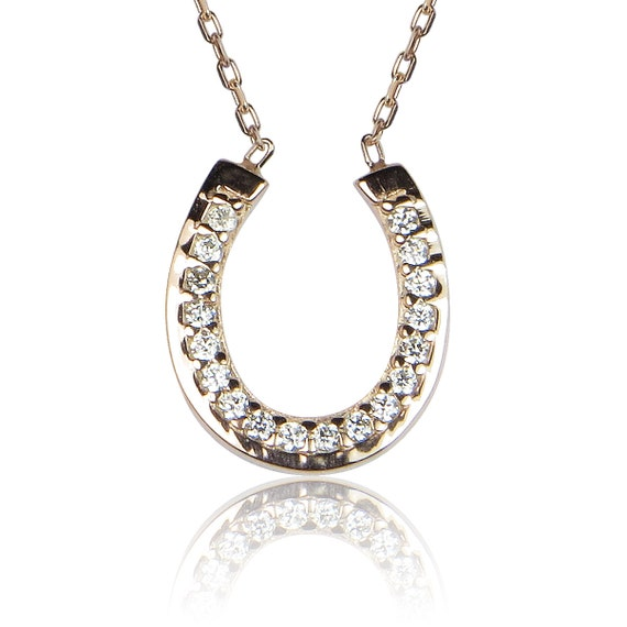 horseshoe cz necklace in rose gold plated sterling silver safe to wet, luxury for less