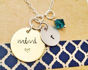 Grandmother Necklace, Grandma Necklace Mimi Necklace Mom  Necklace, Mother's Day Necklace, Mom Gift, Initial Necklace