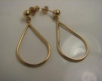 14Kt Gold Teardrop Dangle Earrings -32mm dangle 229
