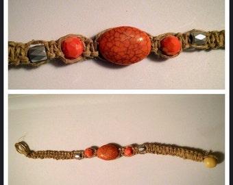 Peach & silver hemp bracelet 7 inches