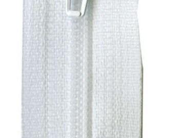 """YKK White Nylon Coil Zippers - 14"""""""