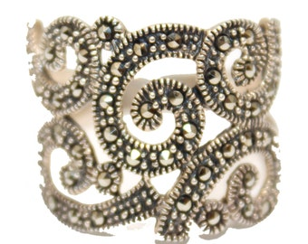 Wind Blowing Style Marcasite Band Ring Size 10.925 Sterling Silver