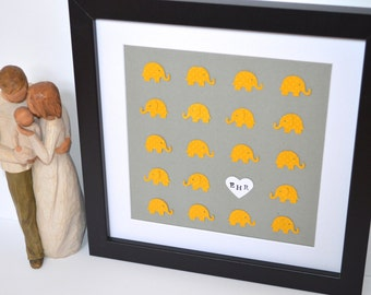 Gray and Yellow Elephant Nursery Decor- Paper Elephant Art, Adoption Gift, Christening Gift, Custom Nursery Art, Baptism Gift,Playroom Decor