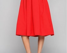 Red midi skirt. Autumn skirt. Midi skirt. Woman skirt. Business woman. A -line skirt.