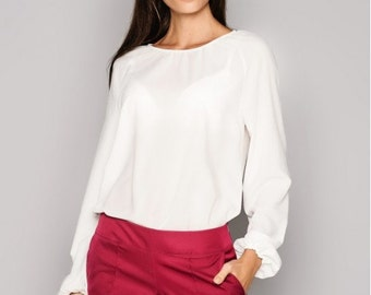 White blouse. Office blouse. Business woman blouse. Chiffon blouse.