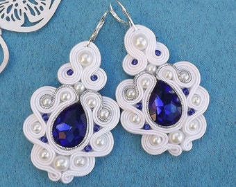 Mega With & Shappire with Crystall Soutache Earrings
