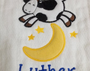 "Personalized burp cloth with ""The Cow Jumped Over the Moon"" applique"