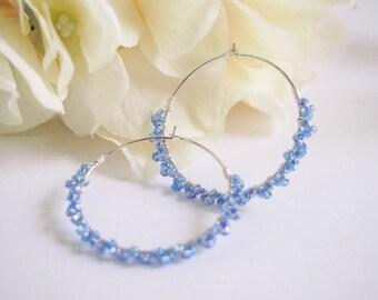 Silver Hoop Blue Beads Earring