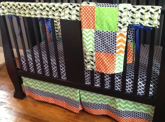 Items Similar To Crib Bedding Set, Orange, Navy Blue & Lime Green, Crib Skirt, Sheet, Teething