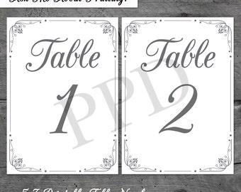 Elegant DIY Table Numbers - Printable Table Numbers - Scroll Table Numbers - DIY Wedding Table Numbers - Victorian Table Numbers
