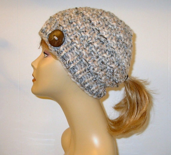 Knit Hat Pattern Ponytail Hole : Tan Cream Chunky Knit Pony Tail Hat Beanie by AlaskanKnitGifts