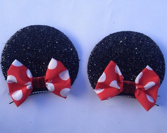 SPARKLY Individual Minnie mouse clip on ears with RED bow