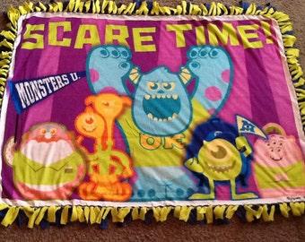 Monsters university fleece tie blanket, reversible  blanket
